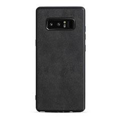 Coque Silicone Gel Motif Cuir R05 pour Samsung Galaxy Note 8 Duos N950F Noir