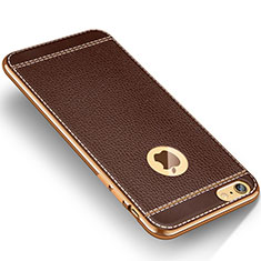 Coque Silicone Gel Motif Cuir W01 pour Apple iPhone 6S Plus Marron