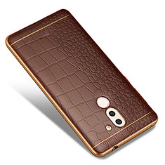 Coque Silicone Gel Motif Cuir W01 pour Huawei Honor 6X Marron