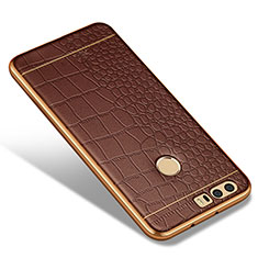 Coque Silicone Gel Motif Cuir W01 pour Huawei Honor 8 Marron