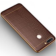 Coque Silicone Gel Motif Cuir W01 pour Huawei Honor V9 Marron