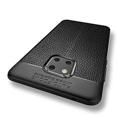 Coque Silicone Gel Motif Cuir W01 pour Huawei Mate 20 Pro Noir