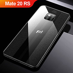 Coque Silicone Gel Motif Cuir W01 pour Huawei Mate 20 RS Noir