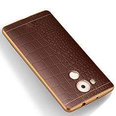 Coque Silicone Gel Motif Cuir W01 pour Huawei Mate 8 Marron