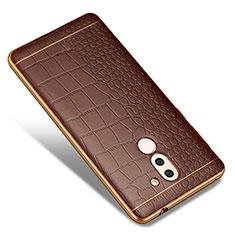 Coque Silicone Gel Motif Cuir W01 pour Huawei Mate 9 Lite Marron