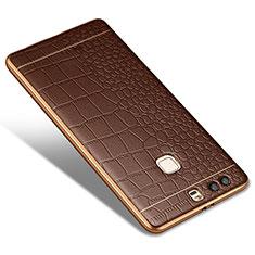 Coque Silicone Gel Motif Cuir W01 pour Huawei P9 Marron