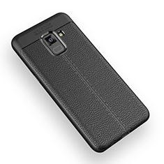 Coque Silicone Gel Motif Cuir W01 pour Samsung Galaxy A5 (2018) A530F Noir