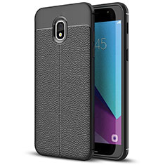 Coque Silicone Gel Motif Cuir W01 pour Samsung Galaxy J7 (2018) J737 Noir
