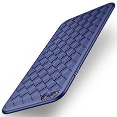 Coque Silicone Gel Motif Cuir W02 pour Apple iPhone 6S Plus Bleu