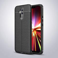 Coque Silicone Gel Motif Cuir W03 pour Huawei Mate 20 Lite Noir