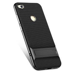 Coque Silicone Gel Souple Couleur Unie avec Support pour Huawei GR3 (2017) Noir