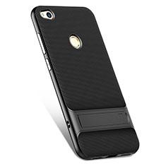 Coque Silicone Gel Souple Couleur Unie avec Support pour Huawei Honor 8 Lite Noir