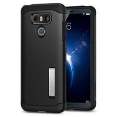 Coque Silicone Gel Souple Couleur Unie avec Support pour LG G6 Noir