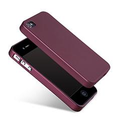 Coque Silicone Gel Souple Couleur Unie pour Apple iPhone 4 Rouge