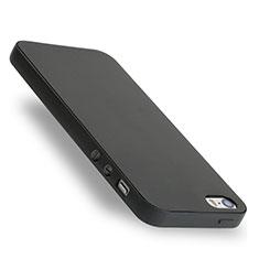 Coque Silicone Gel Souple Couleur Unie pour Apple iPhone 5S Noir