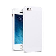 Coque Silicone Gel Souple Couleur Unie pour Apple iPhone SE Blanc