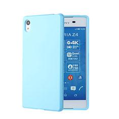 Coque Silicone Gel Souple Couleur Unie pour Sony Xperia Z3+ Plus Bleu