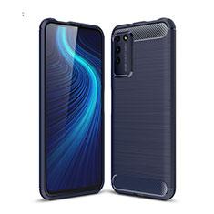 Coque Silicone Housse Etui Gel Line C01 pour Huawei Honor X10 5G Bleu