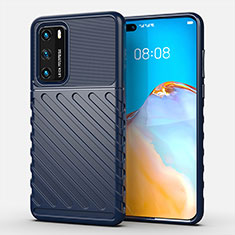 Coque Silicone Housse Etui Gel Line C01 pour Huawei P40 Bleu