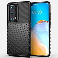 Coque Silicone Housse Etui Gel Line C01 pour Huawei P40 Pro+ Plus Noir