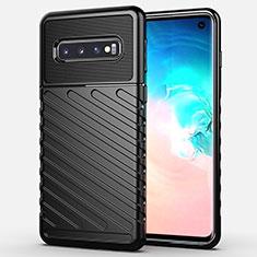 Coque Silicone Housse Etui Gel Line C02 pour Samsung Galaxy S10 Noir