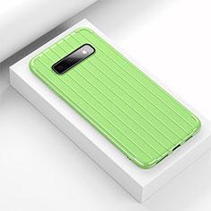 Coque Silicone Housse Etui Gel Line C02 pour Samsung Galaxy S10 Plus Vert