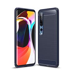 Coque Silicone Housse Etui Gel Line C02 pour Xiaomi Mi 10 Bleu