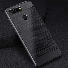 Coque Silicone Housse Etui Gel Line C03 pour Huawei Honor View 20 Noir