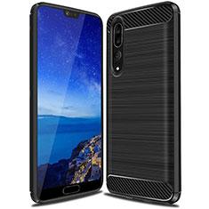 Coque Silicone Housse Etui Gel Line C03 pour Huawei P20 Pro Noir