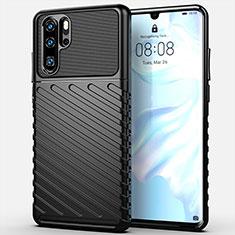 Coque Silicone Housse Etui Gel Line C03 pour Huawei P30 Pro Noir