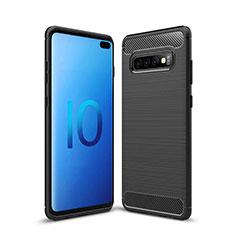 Coque Silicone Housse Etui Gel Line C03 pour Samsung Galaxy S10 Plus Noir
