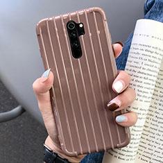 Coque Silicone Housse Etui Gel Line C04 pour Xiaomi Redmi Note 8 Pro Marron