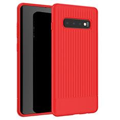 Coque Silicone Housse Etui Gel Line L01 pour Samsung Galaxy S10 Plus Rouge