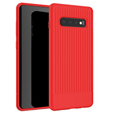 Coque Silicone Housse Etui Gel Line L01 pour Samsung Galaxy S10 Rouge