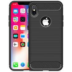 Coque Silicone Housse Etui Gel Line pour Apple iPhone X Noir