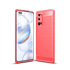Coque Silicone Housse Etui Gel Line pour Huawei Honor 30 Pro Rouge