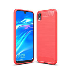 Coque Silicone Housse Etui Gel Line pour Huawei Honor Play 8 Rouge