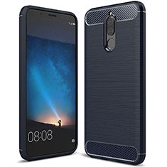 Coque Silicone Housse Etui Gel Line pour Huawei Mate 10 Lite Bleu