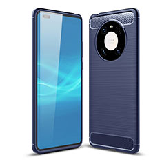 Coque Silicone Housse Etui Gel Line pour Huawei Mate 40 Pro Bleu