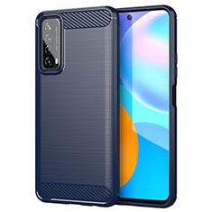 Coque Silicone Housse Etui Gel Line pour Huawei P Smart (2021) Bleu