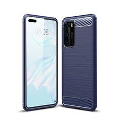 Coque Silicone Housse Etui Gel Line pour Huawei P40 Bleu