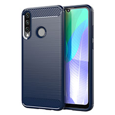 Coque Silicone Housse Etui Gel Line pour Huawei Y6p Bleu