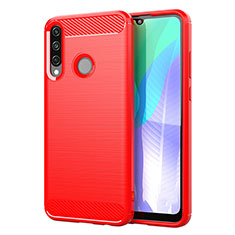Coque Silicone Housse Etui Gel Line pour Huawei Y6p Rouge