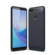Coque Silicone Housse Etui Gel Line pour Huawei Y9 (2018) Bleu