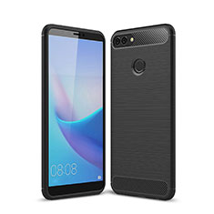 Coque Silicone Housse Etui Gel Line pour Huawei Y9 (2018) Noir