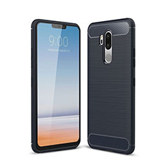 Coque Silicone Housse Etui Gel Line pour LG G7 Bleu