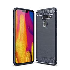 Coque Silicone Housse Etui Gel Line pour LG G8 ThinQ Bleu