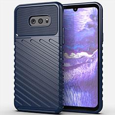 Coque Silicone Housse Etui Gel Line pour LG G8X ThinQ Bleu