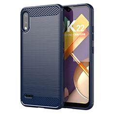 Coque Silicone Housse Etui Gel Line pour LG K22 Bleu