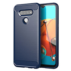 Coque Silicone Housse Etui Gel Line pour LG K51 Bleu